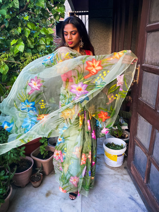 Light Green Hand-Painted Organza Saree floral saree,