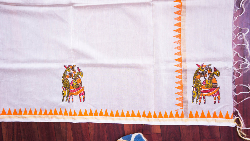 gond art chanderi dupatta