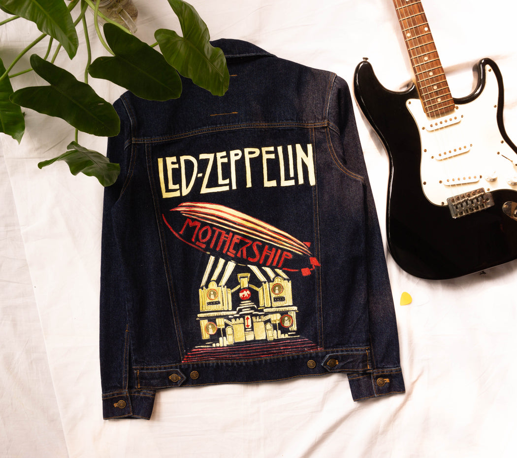 Shop Blue Denim Jacket for men Led Zepplin denim jacket,