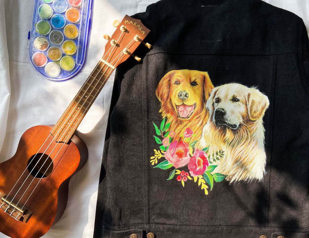 Pets Painted on denim jacket customised, denim jacket