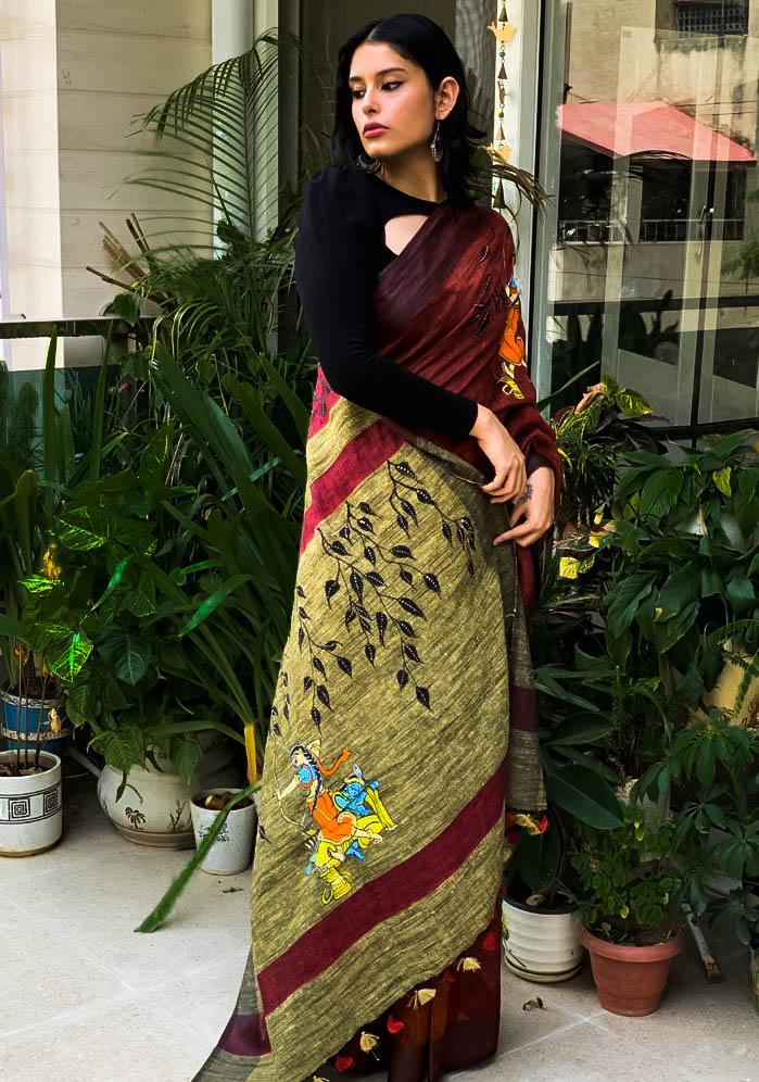 ethnic, linen, saree