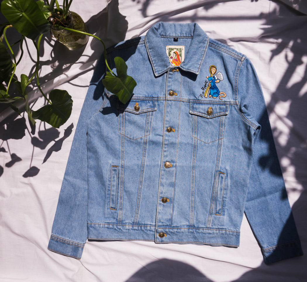 denim jacket, embroidered, men