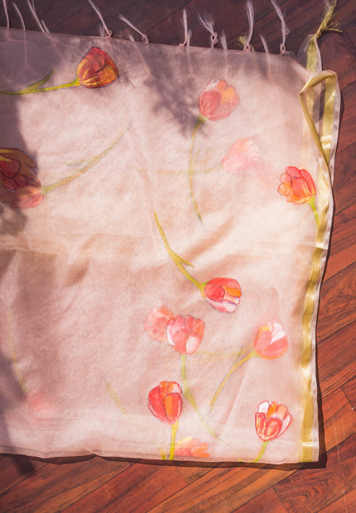 Hand Painted Denim Jackets tulips 1