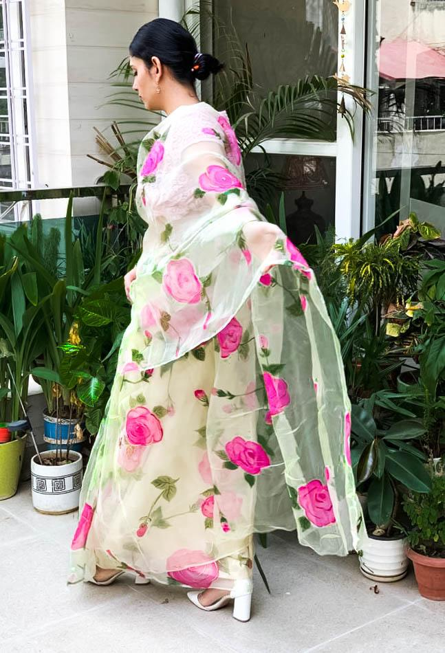 Light Pink Hand-Painted Organza Saree online in India floral