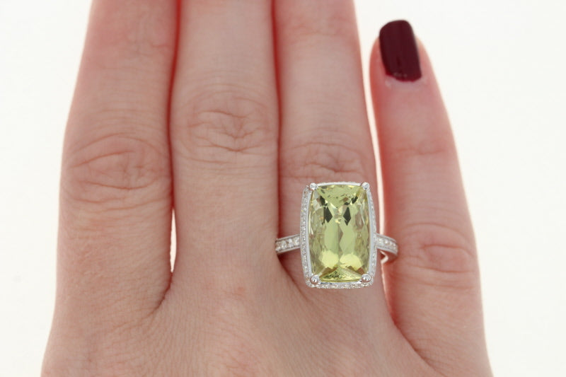 Lemon Quartz & Diamond Halo Ring  8.12ctw
