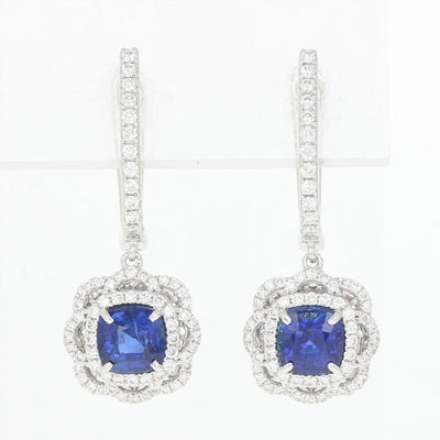 Sapphire & Diamond Halo Earrings  2.13ctw