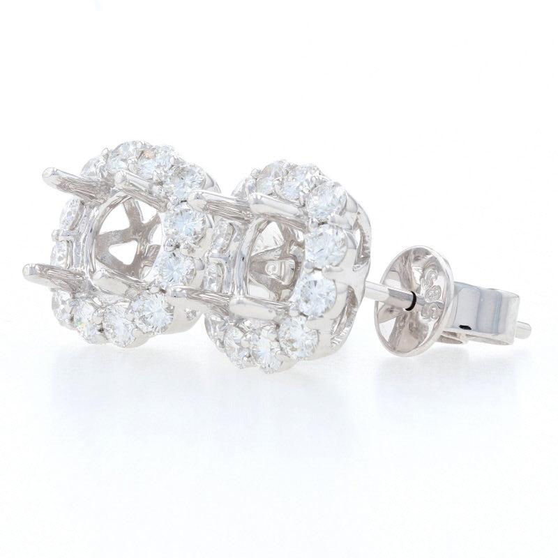 Semi-Mount Halo Earrings White Gold