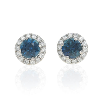 1.14ctw Sapphire & Diamond Halo Earrings White Gold