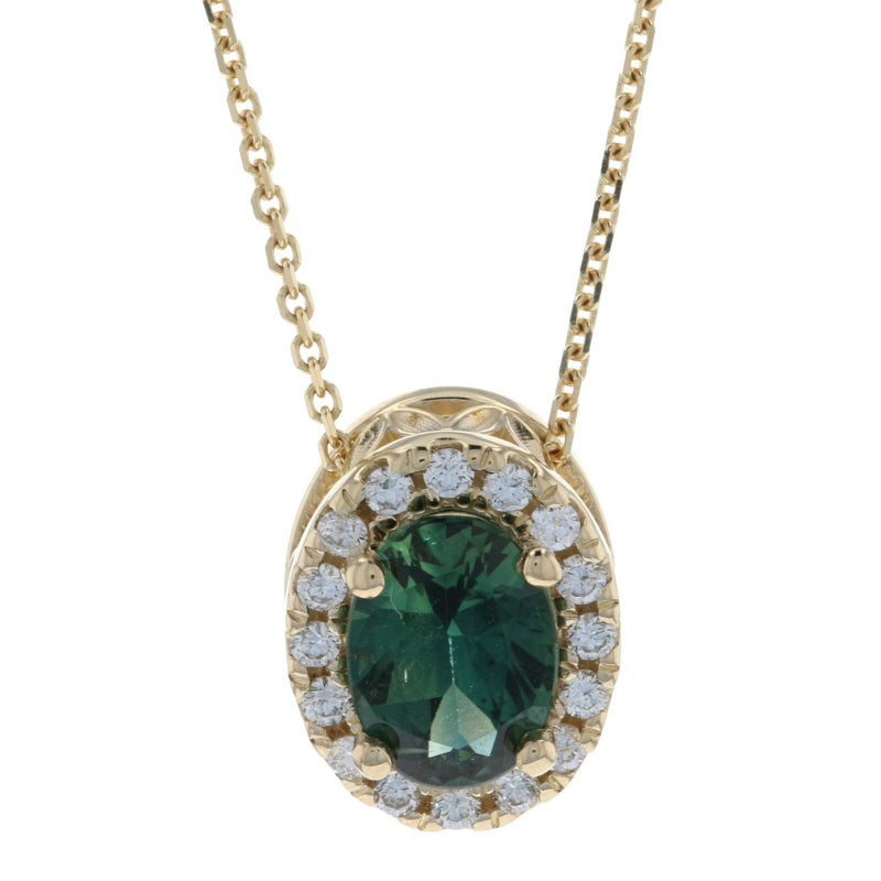 .87ct Teal Sapphire & Diamond Necklace Yellow Gold