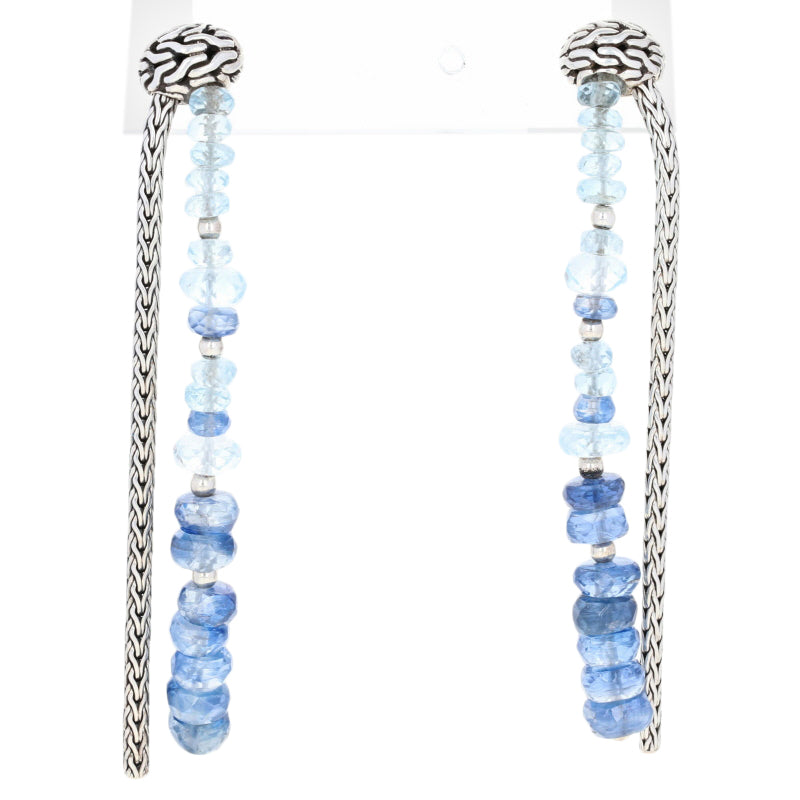John Hardy Classic Chain Aquamarine & Kyanite Earrings Sterling Silver