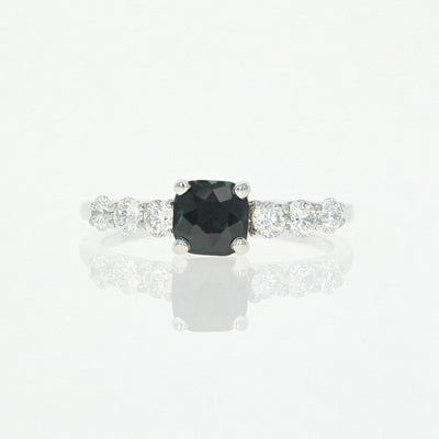 Square Cushion Cut Sapphire & Diamond Engagement Ring 1.17ctw