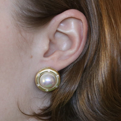 12mm Mabe Pearl & Diamond Earrings