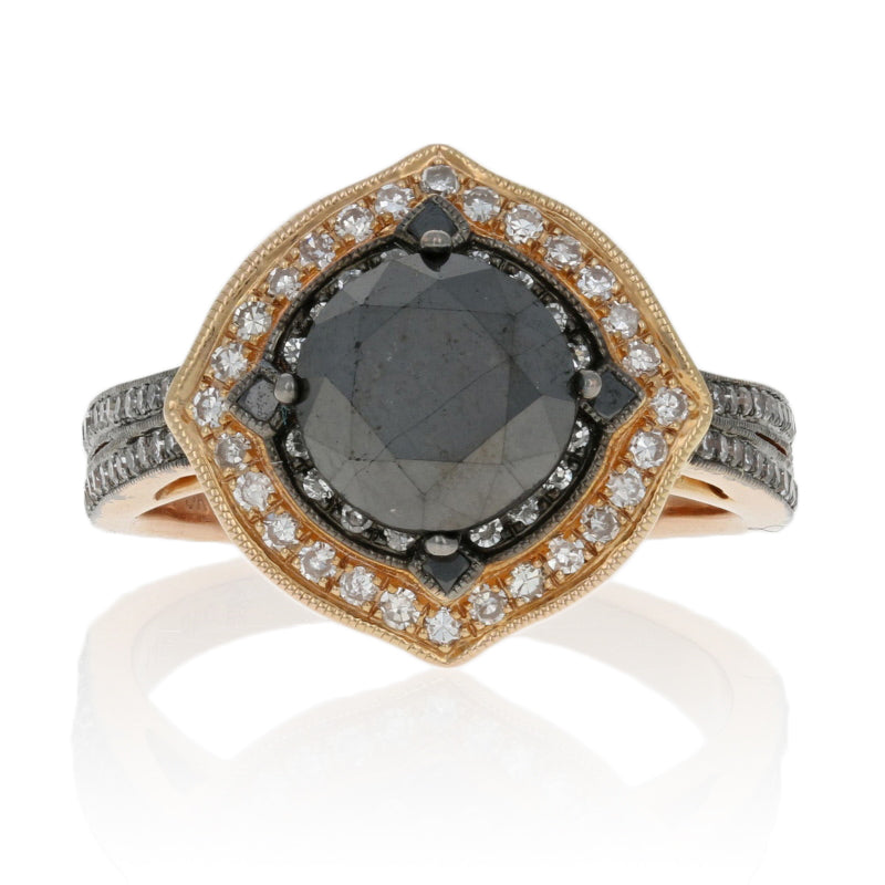 2.25ct Black Diamond Halo Ring Rose Gold
