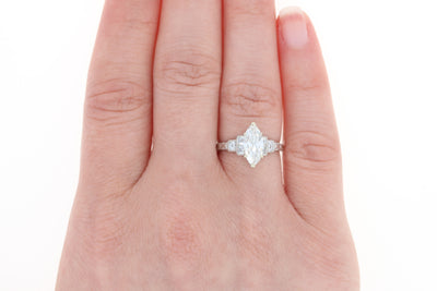 1.19ct Marquise Diamond Art Deco Ring