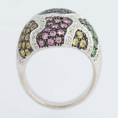 Multi-Gemstone Cluster Cocktail Ring