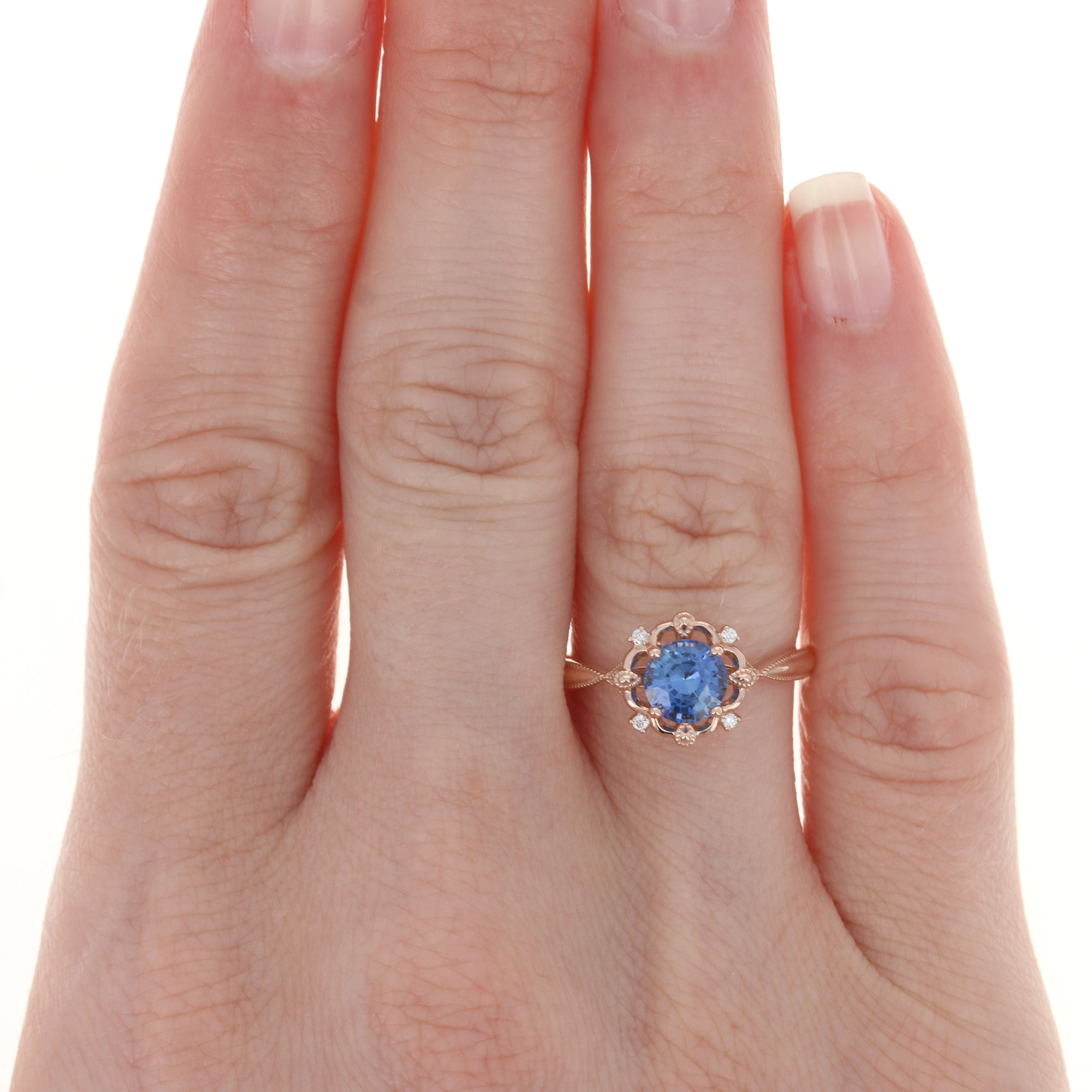 1.09ct Sapphire & Diamond Ring Rose Gold