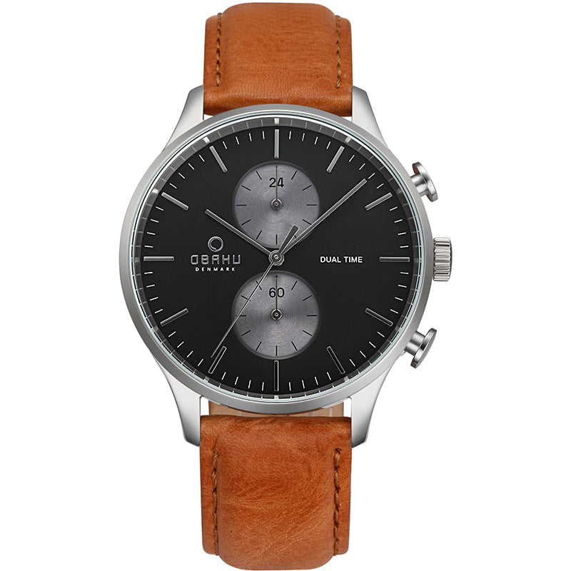 Obaku Gran Camel Men's Dual Time Watch V196GUCURZ