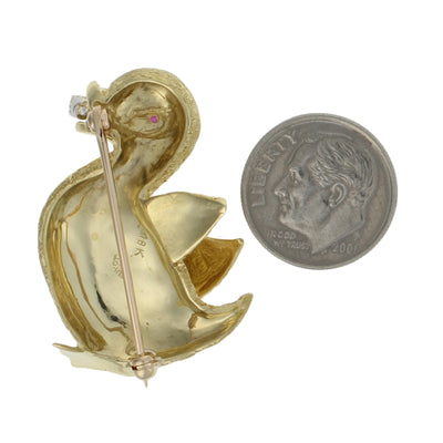 Diamond & Ruby Duck Brooch Yellow Gold
