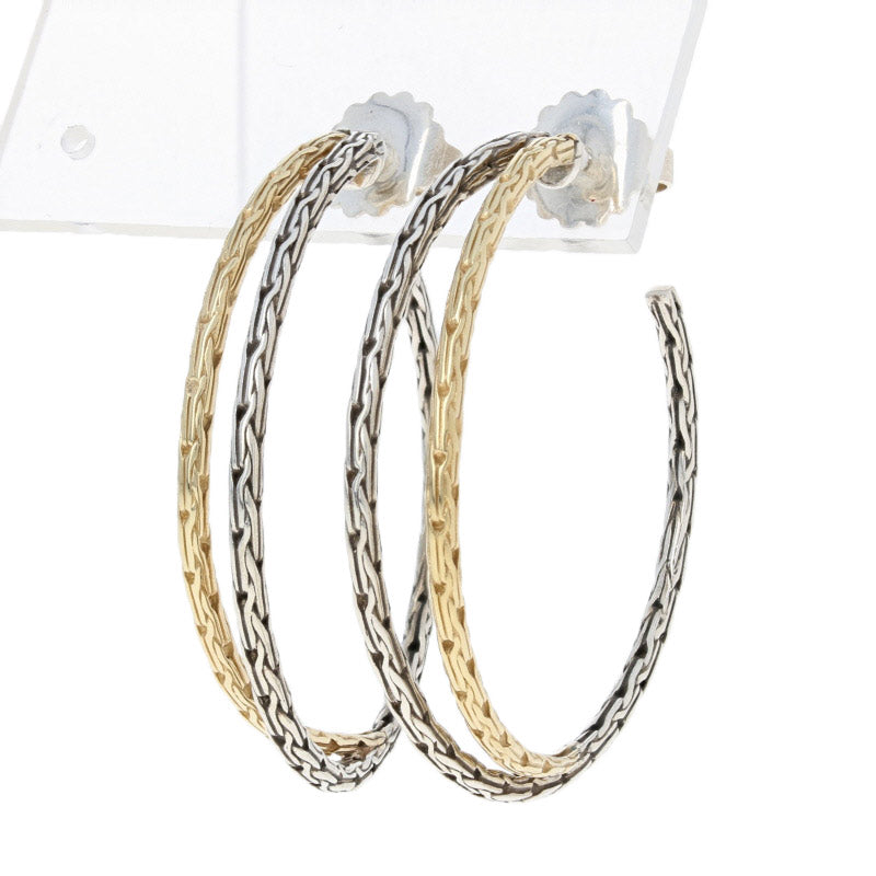 John Hardy Classic Chain Medium Hoop Earrings Sterling Silver & Yellow Gold