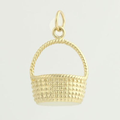 Woven Basket Pendant - 14k Yellow Gold Charm