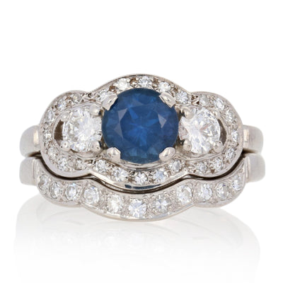 Sapphire & Diamond Engagement Ring & Wedding Band 1.20ct