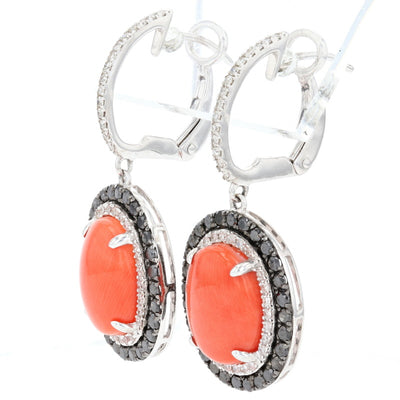 Coral & Diamond Earrings White Gold