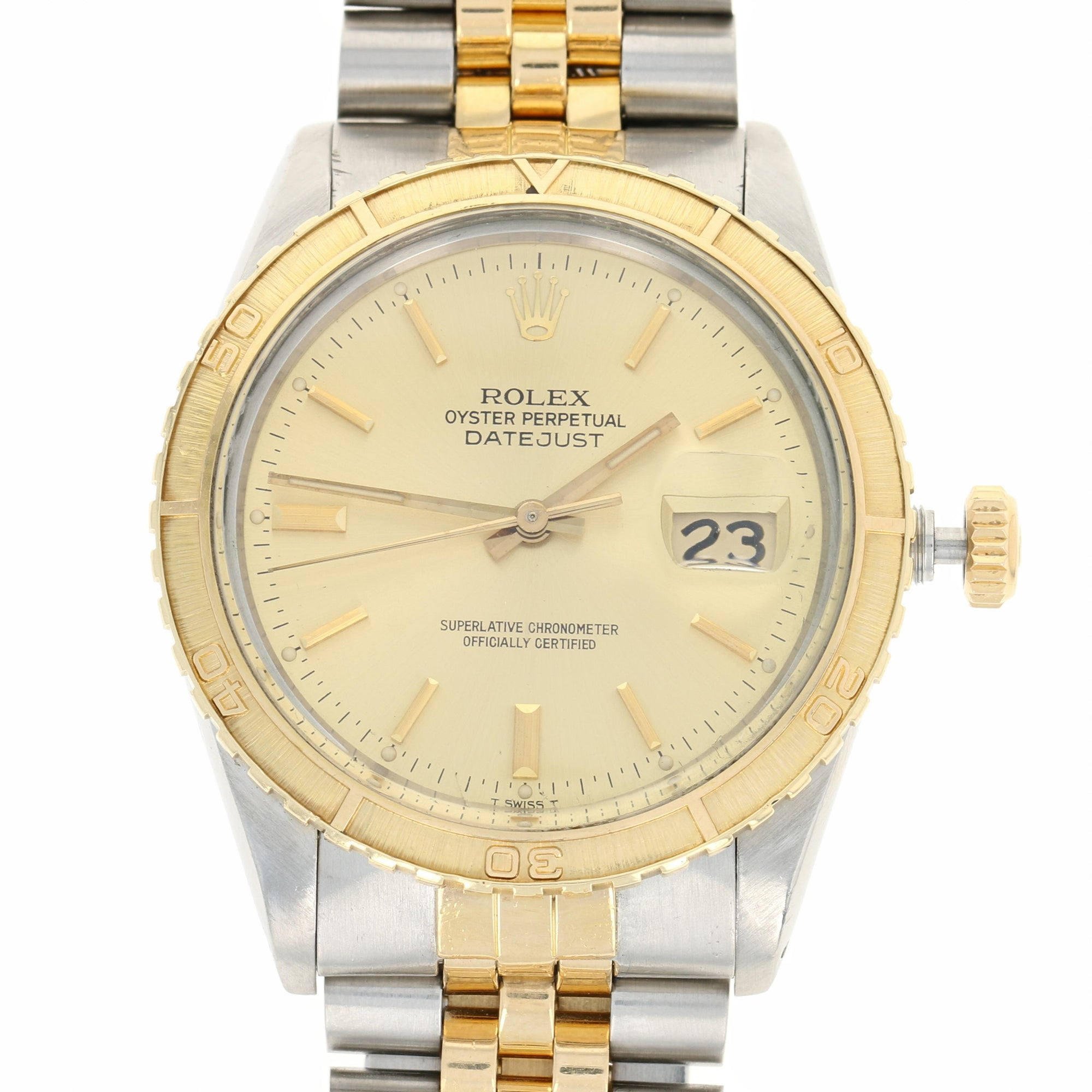 Rolex Datejust Watch Thunderbird Stainless Steel 18k Gold 16253