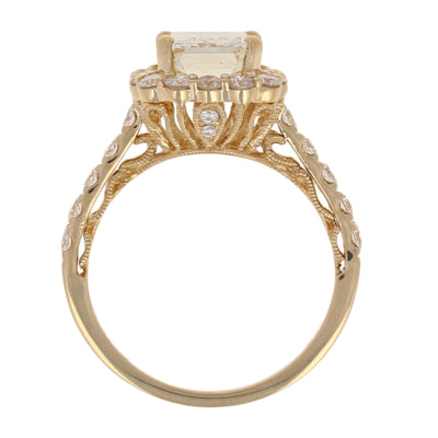 Emerald Cut Halo Diamond Engagement Ring GIA 3.70ctw
