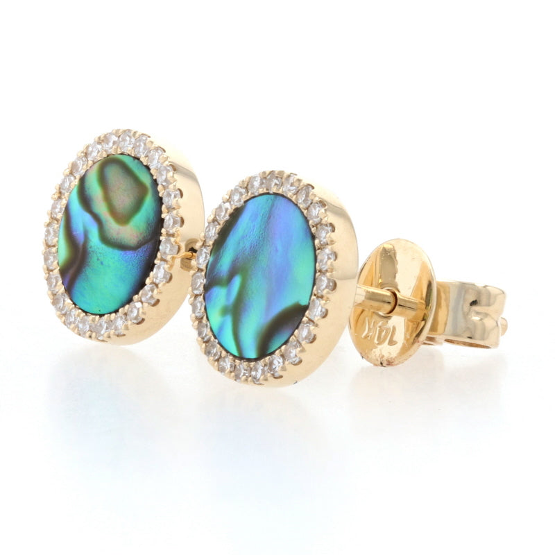 Abalone & Diamond Earrings Yellow Gold