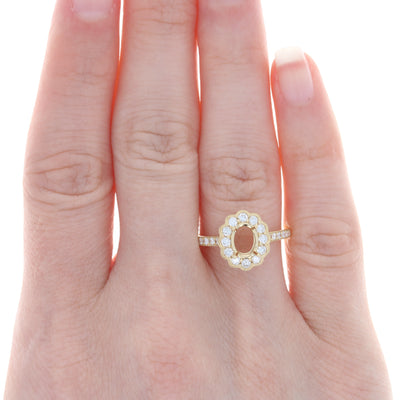 Semi-Mount Halo Ring Yellow Gold