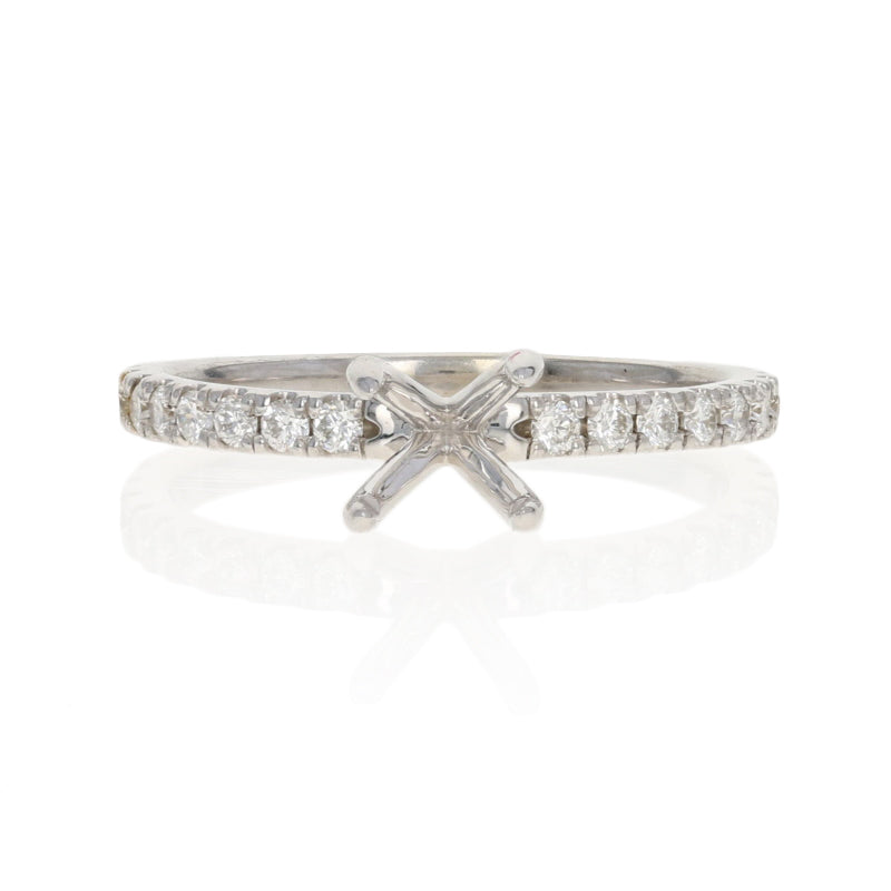 Semi-Mount French Set Engagement Ring White Gold