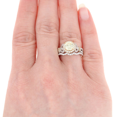 Diamond Halo Engagement Ring & Wedding Band 1.89ctw