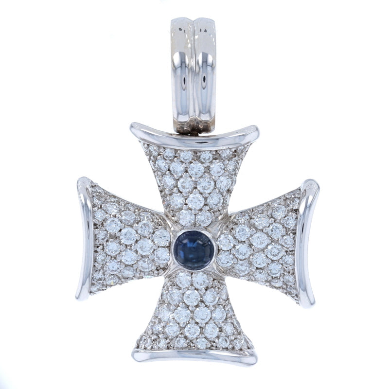 .70ct Sapphire & Diamond Bolnisi Cross Enhancer Pendant White Gold