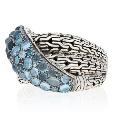 John Hardy Pave Blue Topaz Classic Chain Overlap Ring Sterling Silver