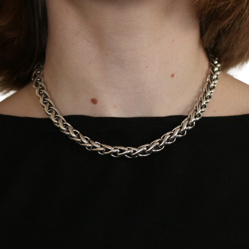 David Yurman 8mm Classic Wheat Chain Necklace Sterling Silver & Yellow Gold