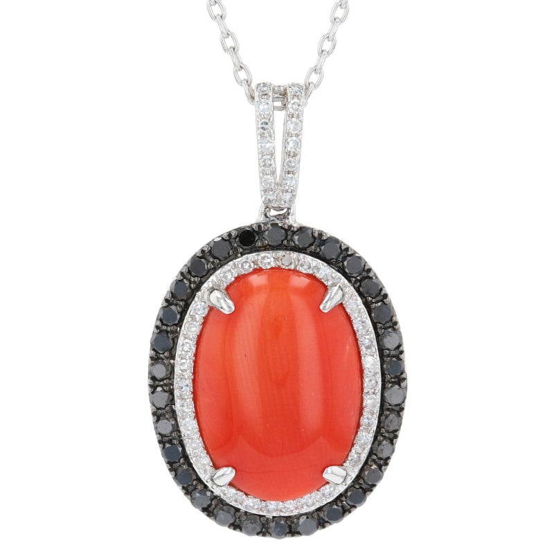 Coral & Diamond Halo Pendant Necklace White Gold