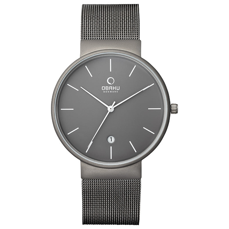 Obaku KLAR - Titanium Men's 4 0mm Titanium Date Watch V153GDTJMJ