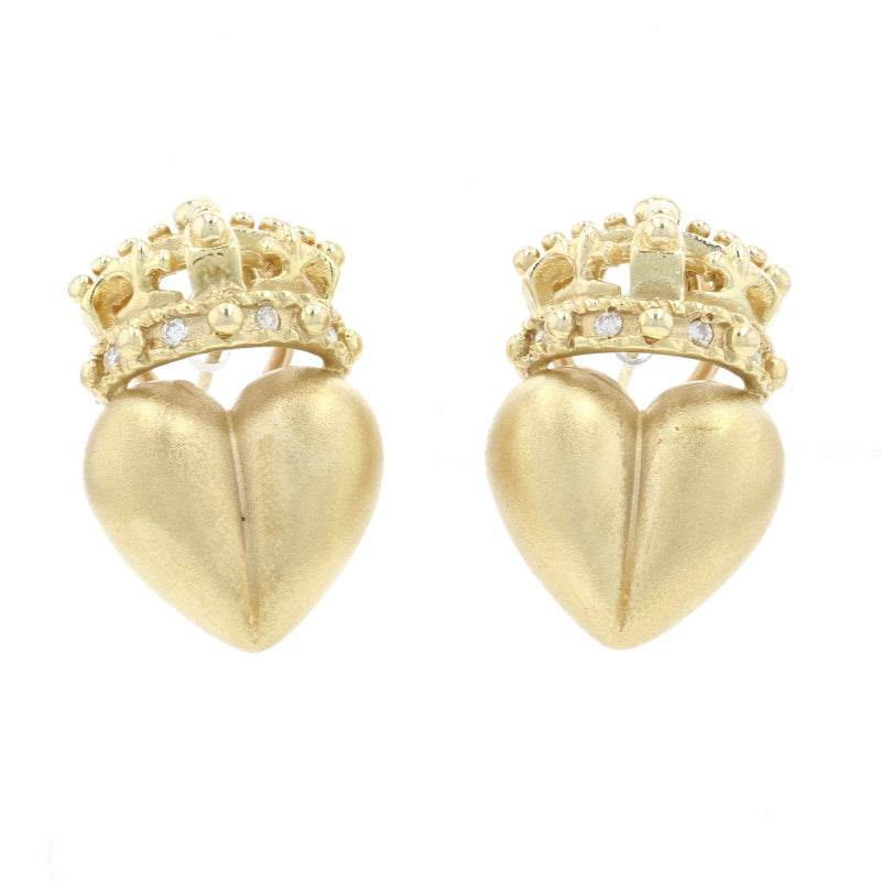 .12ctw Diamond Crowned Heart Earrings Yellow Gold