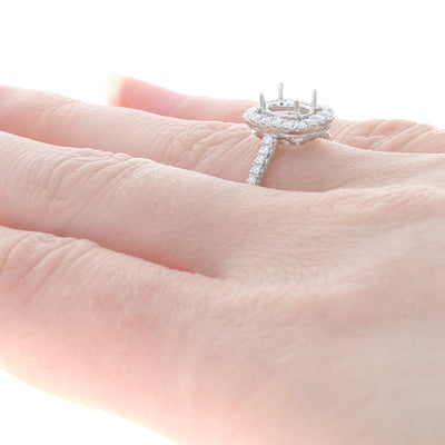 Semi-Mount Halo Ring White Gold