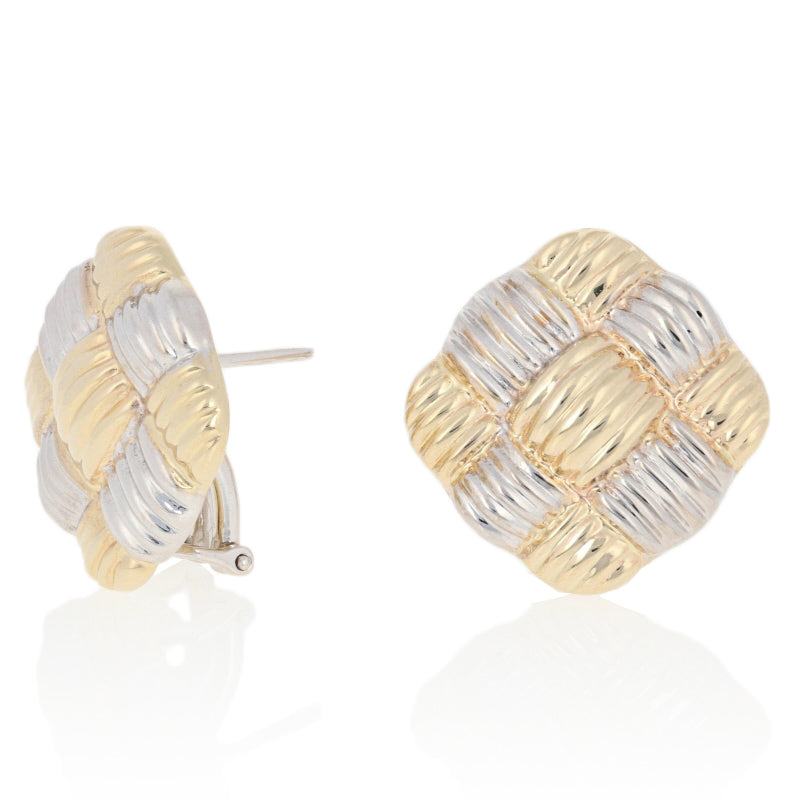Ribbed Basket Weave Earrings Yellow Gold
