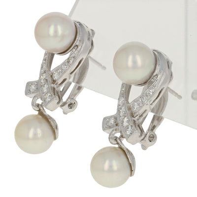 7.6 - 7.8mm Akoya Pearl & Diamond Earrings - 14k Gold Milgrain Ribbon Pierced