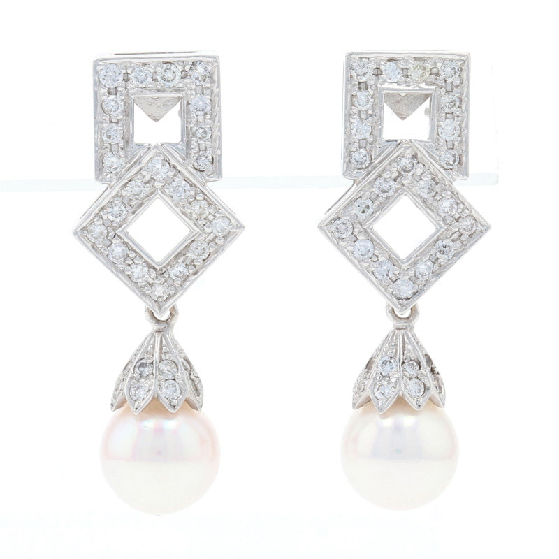 Akoya Pearl & Diamond Earrings White Gold