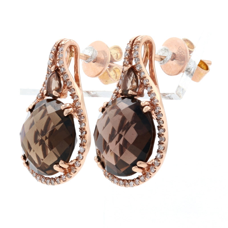 8.20ctw Smoky Quartz & Diamond Earrings Rose Gold