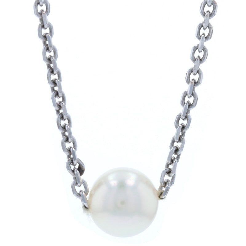 7.4mm Cultured Pearl Solitaire Necklace White Gold