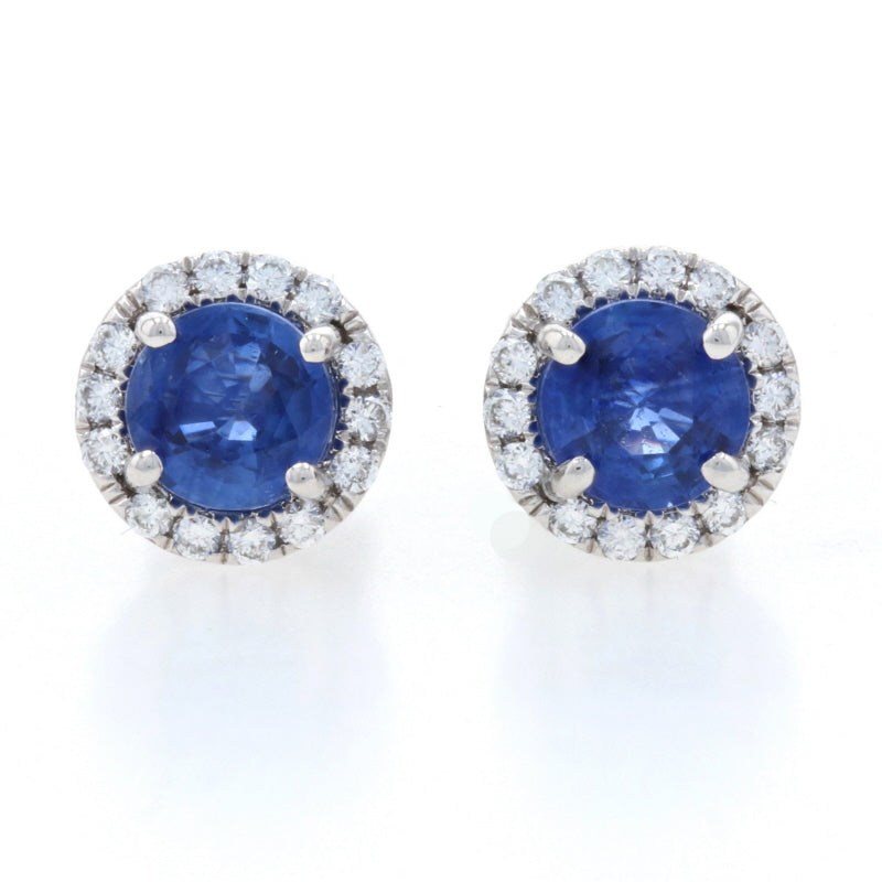 1.00ctw Sapphire & Diamond Earrings White Gold