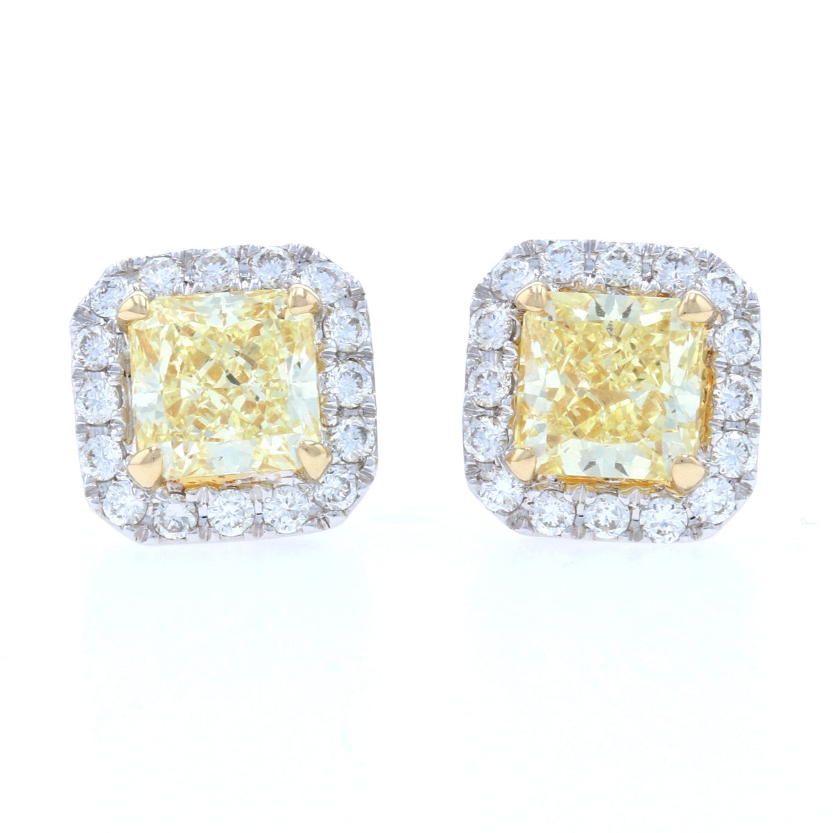 1.74ctw Fancy Yellow Diamond Earrings White Gold