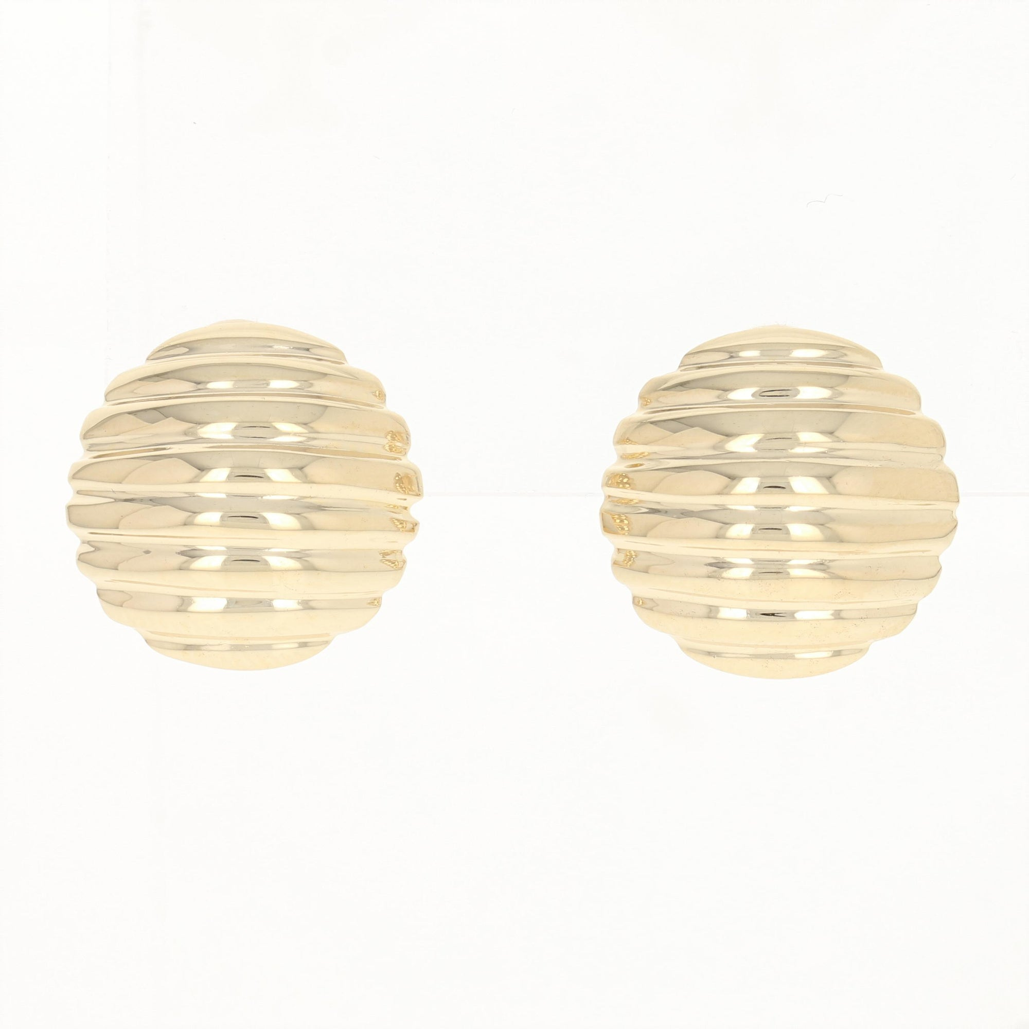 Ribbed Circle Dome Earrings Yellow Gold