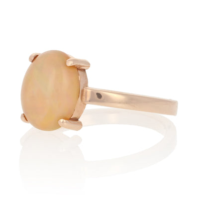 NEW Opal Solitaire Ring - 14k Rose Gold October Gift 7 1/4 Genuine 1.90ctw