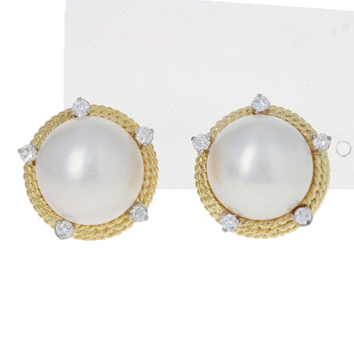 Mabe Pearl & Diamond Earrings Yellow Gold