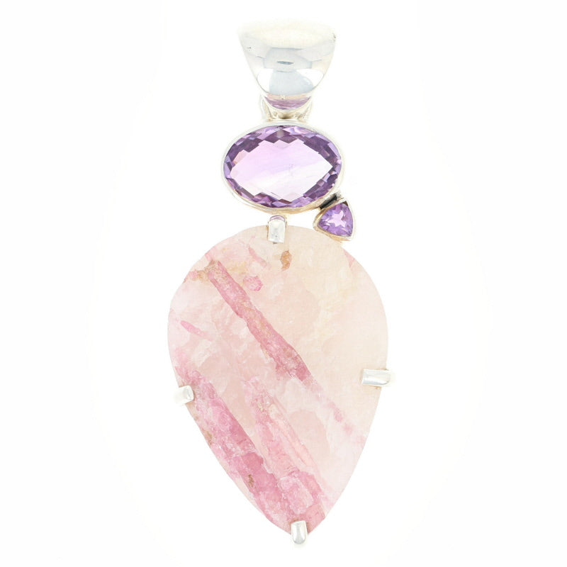 Sterling Silver Pink Tourmaline in Quartz & Amethyst Pendant
